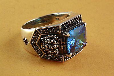 ROYAL KRONEN RING MIT BLUE STONE SILBERRING 925 ECHT SILBER / 454 (Ring Mit Krone)