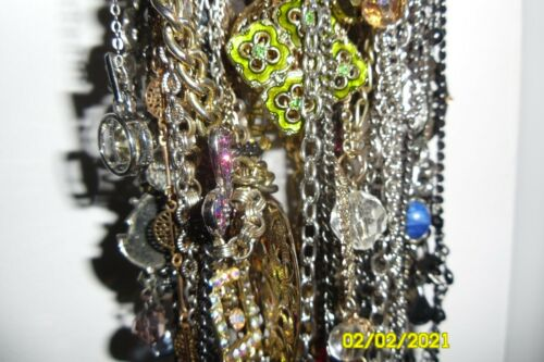 Vintage Rhinestone Costume Jewelry Lot 50+ Necklaces Wearable