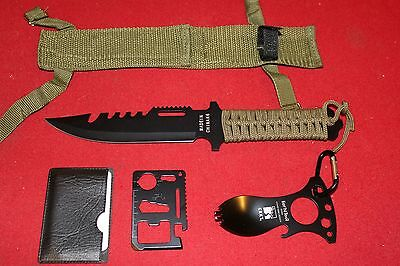 SURVIVAL GEAR KNIFE TACTICAL FISHING HUNTING HIKING CAMPING MULTI TOOL MILITARY