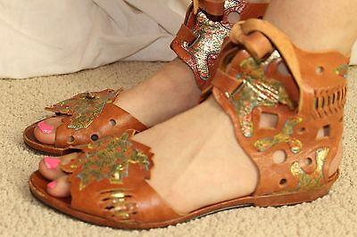 vtg 80s TROBBIANI leather sandals womens vintage wrap shoes whiskey gold sz 8
