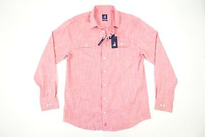 JOHNNIE-O SURF PINK MALIBU RED SMALL HUTTON BUTTON FRONT SHIRT MENS NWT NEW
