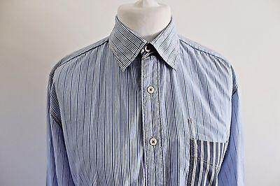 Boden Mens Blue M Various Stripe Cotton Long Sleeve Shirt Medium Contrast cuffs