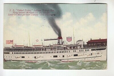 Steamer SS United States Plying between Michigan City & Chicago  IL