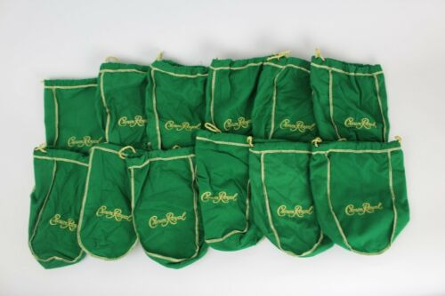 Lot of 12 Crown Royal Green Apple Gold Drawstring Bag Felt Quilt Sew Crafts