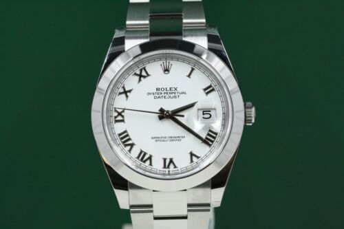 Rolex Datejust 41 126300 Stainless Steel Oyster Band White Roman Dial  -unused-