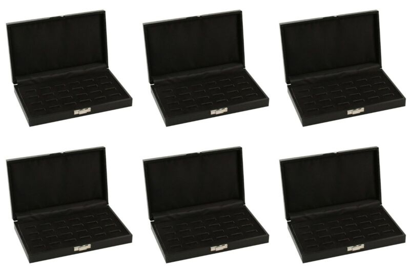 Wholesale 6 Black Wide Slot 24 Ring Display Portable Sales Storage Boxes Cases