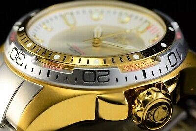 Invicta Men 51mm Hydromax Gold Silver Automatic NH35A White Dial Diver SS Watch
