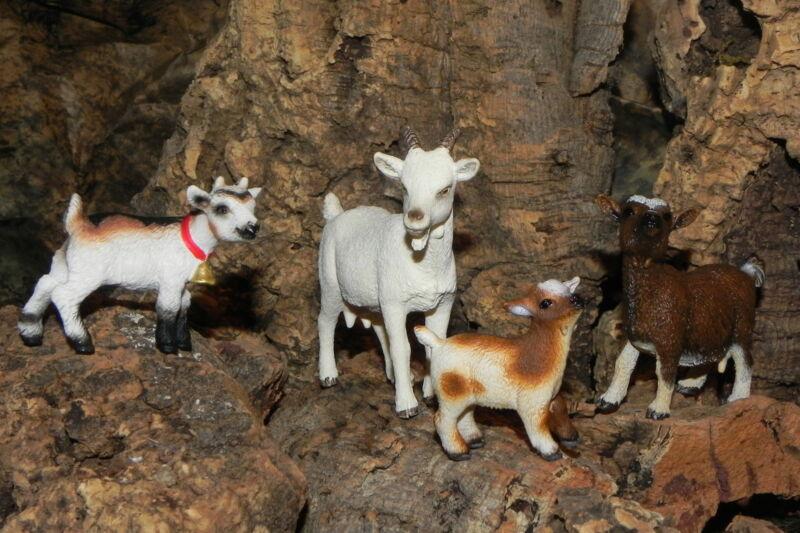 Retired Schleich Goat Figurines Nativity Scene Set/4 Pesebre Animal Cabras