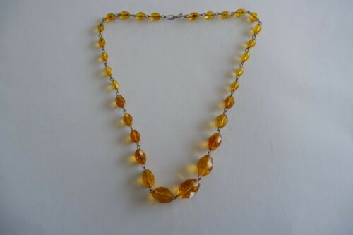 ANTIQUE EDWARDIAN BRASS WIRE AMBER COLOR GLASS STONE NECKLACE - C1910