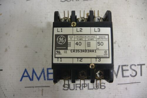 GE CR353AD3AA1 40A 3P Contactor 120V Coil 55-B31A USED