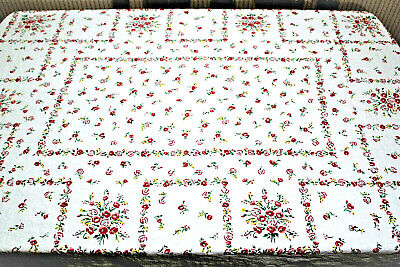 Vtg Country Kitchen Cotton Linen Blend White Red Floral Rectangular Tablecloth