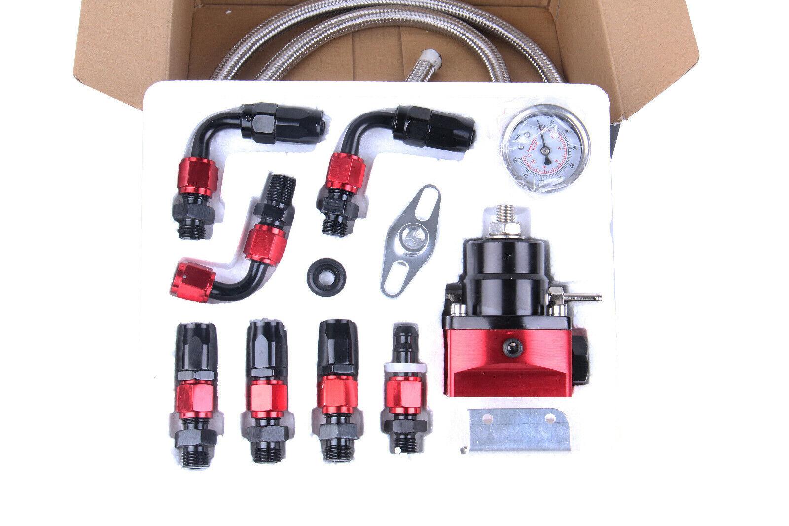Owner Black-Red Adjustable Fuel Pressure Regulator Kit Oil 0-100psi Gauge -6AN