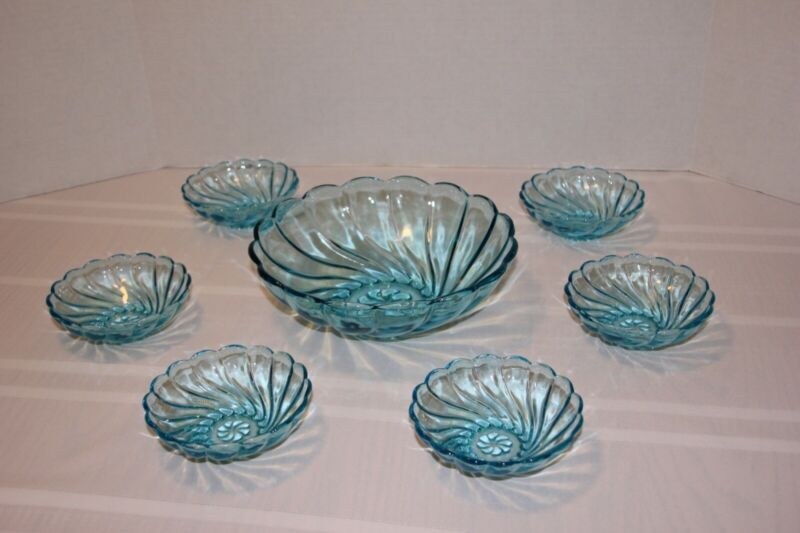 Stunning Vintage Hazel Atlas Capri Blue Seven pc Berry/Fruit/Salad Bowl Set
