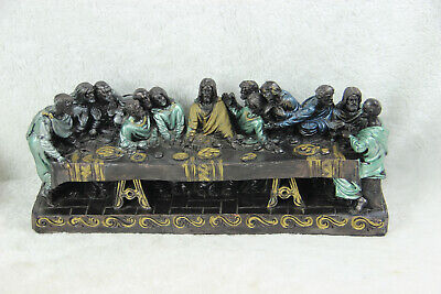 Antique large French chalkware polychrome last supper statue religious