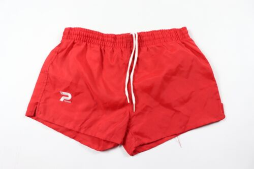 Vintage 80s New Patrick Youth Large Spell Out Lined Nylon Gym Soccer Shorts Red