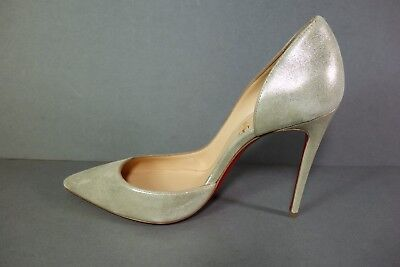 LOUBOUTIN 35.5 IRIZA 100 Suede Gold Platine D'Orsay Point Toe Pumps Heels NEW
