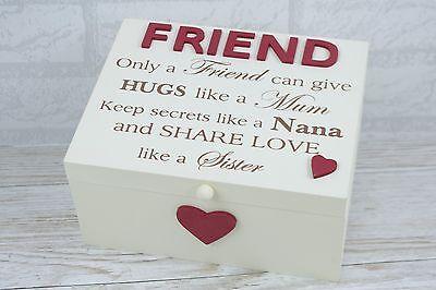 Friend Memory Box Keepsakes Friendship Only A Friend Can Give Hugs Wooden (Friendship Memory Box)