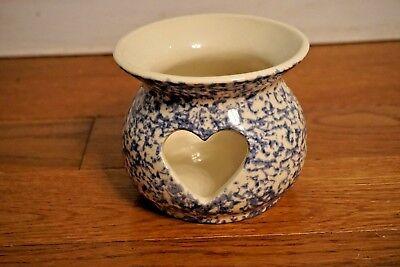 Roseville Pottery Workshops of Gerald Henn Heart Blue Spongeware Candle Votive