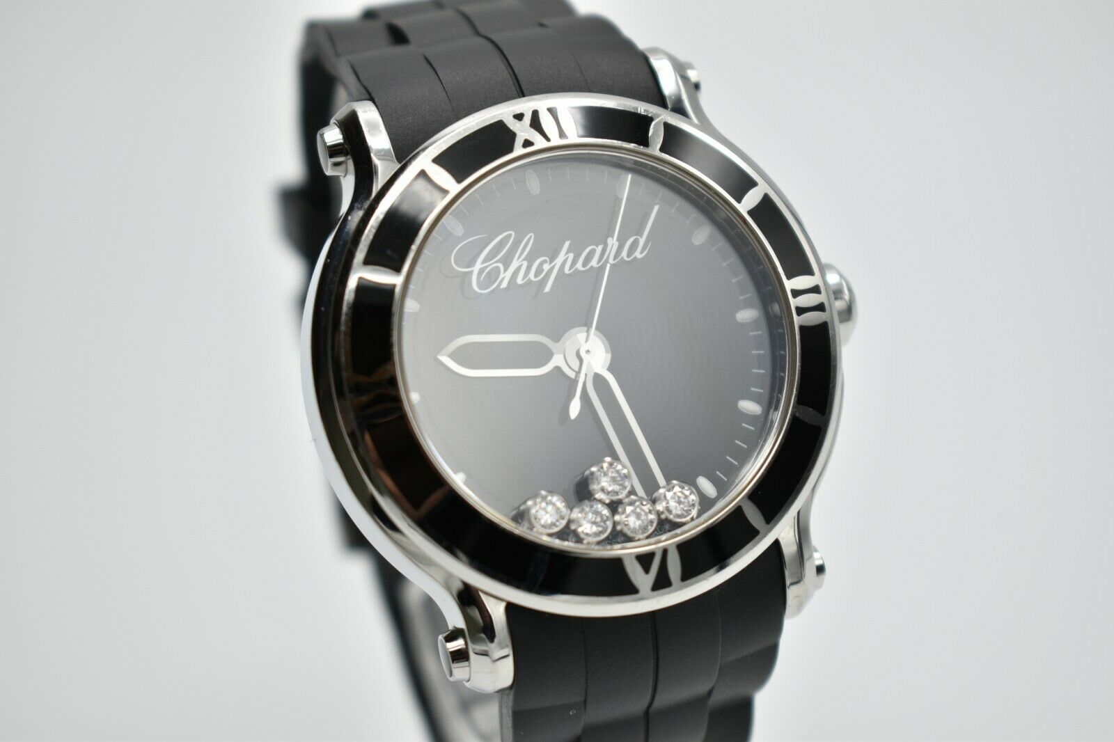 Chopard Happy Sport XL 42mm Floating Diamonds Black 288525-3005 Box/Papers - watch picture 1