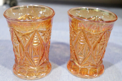 Rare Antique DIAMON CUT SHIELDS by Brockwitz, Marigold tumblers, Germany
