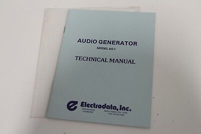 Electrodata Inc Audio Generator Ag1 Technical Manual User Guide Instructions