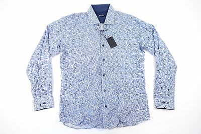 JARED LANG FLORAL DOTTED BLUE LARGE BUTTON FRONT SHIRT MENS NWT NEW