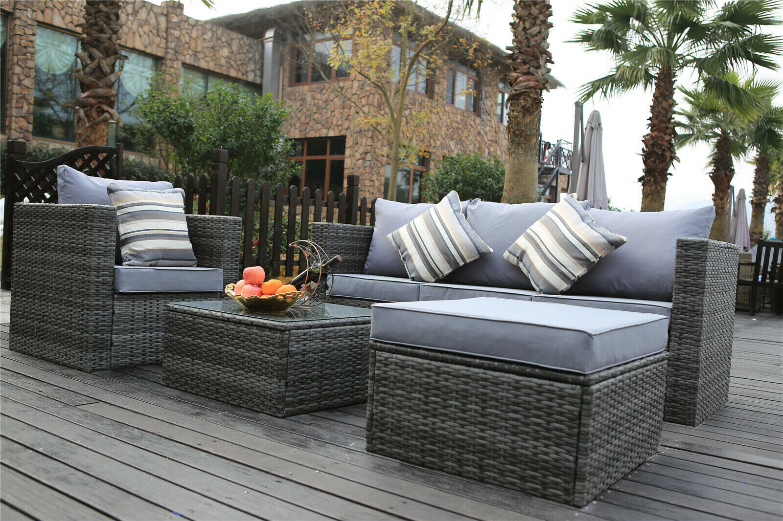 Garden Furniture - Yakoe Rattan Conservatory Garden Furniture 5 Seater Sofa Set Outdoors Grey