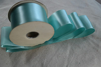 "10 yard 2 1//4/"" wide roll blue rayon trim vintage single faced satin ribbon"