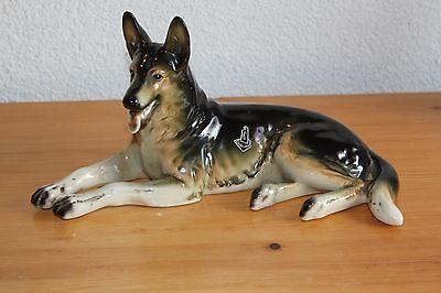 Alte Keramik Figur Schäferhund Cortendorf 50er Jahre