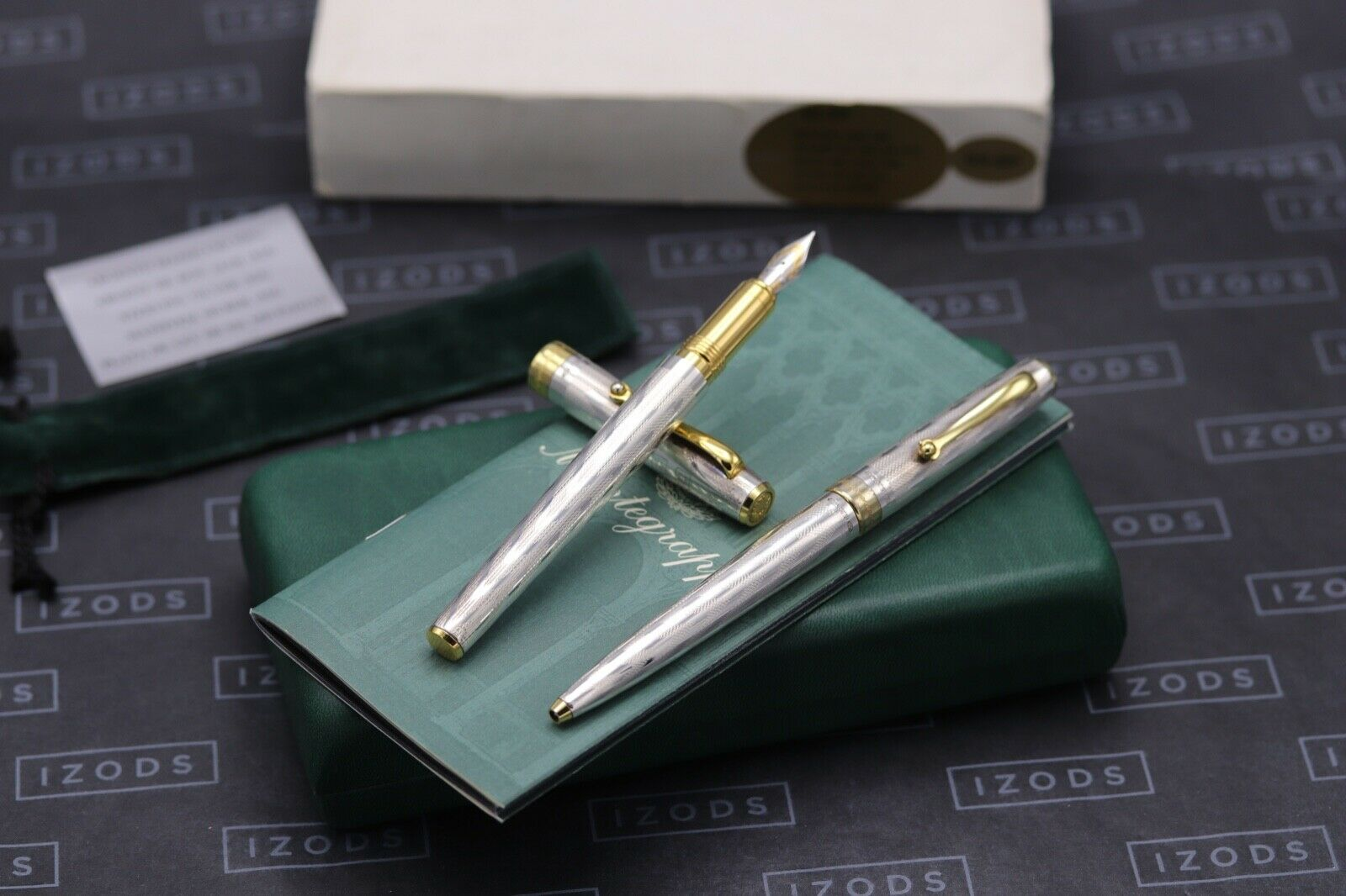 Montegrappa Series 402 Sterling Silver 1055VI Fountain Pen and Ballpoint Pen Set