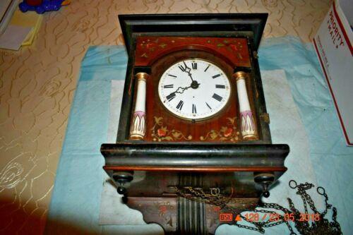 ANTIQUE CUCKOO clock WALL CLOCK WOODEN PLATES CLOCK BEHA??? for parts