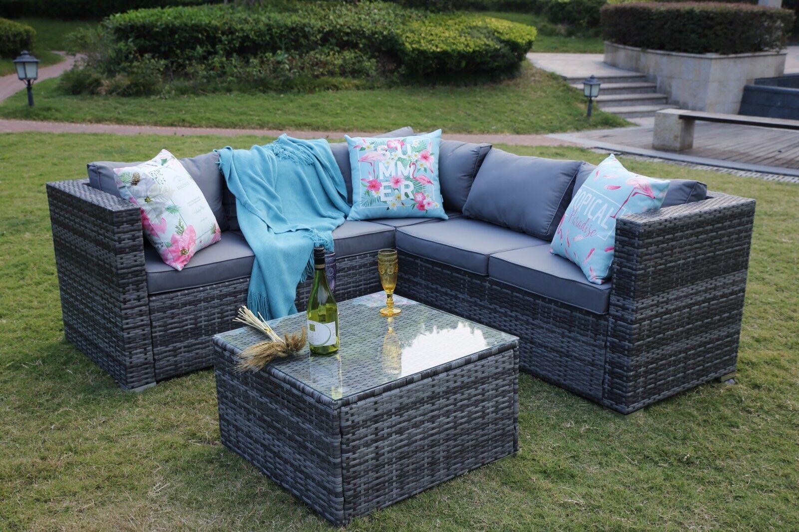 Garden Furniture - Rattan Garden Furniture Set 5 Seater Corner Sofa Set Patio Conservatory Grey
