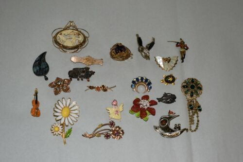 LOT of 20 ANTIQUE VICTORIAN BROOCH PINS (1800s - 1900s) SPAIN,FRANCE,GERMANY ETC