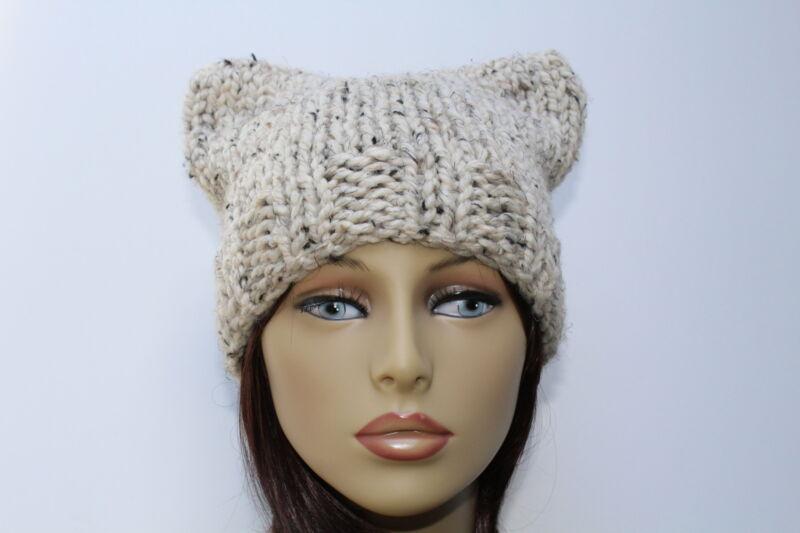 Chunky Hand Knit Unisex Oatmeal Beige Handmade Pussy Cat Hat