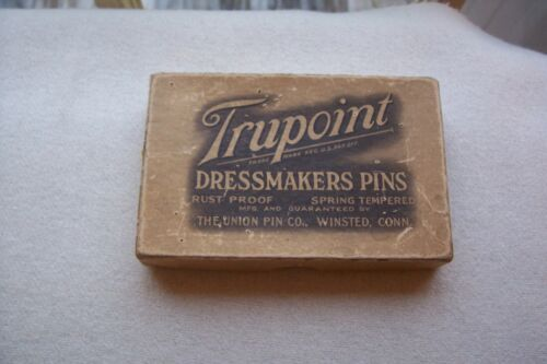 "Rare Vtg Antique Dressmakers Pin Box w/ Black Glass Head Toilet Pins ""Truepoint"""
