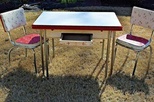 Porcelain Enamel Kitchen Table Metal Legs Art Deco w/ Matching Gate City Atlanta