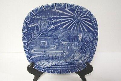 """Julen Rorstrand Christmas Plate 1977 Made in Sweden 7 5/8"""" Cobalt Blue w Owl"""