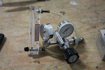 Victor Mbg Compressed Gas Regulator W Dwyer Flow Gauge Stainless
