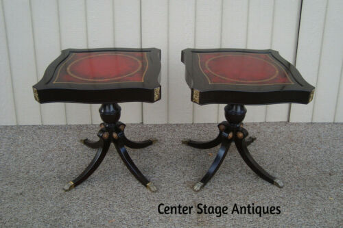 59609  Pair Antique Mahogany Leather Top Lamp Table Stands