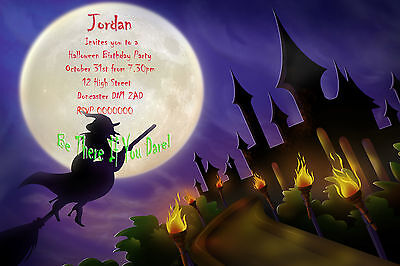 PERSONALISED GLOSSY HALLOWEEN PARTY THEMED BIRTHDAY INVITATIONS WITH ENVELOPES  - Halloween Themed Birthday Party Invitations