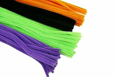 HALLOWEEN Set of 100 PLAIN Chenille Pipe Cleaners for Kids - Kids Halloween Craft