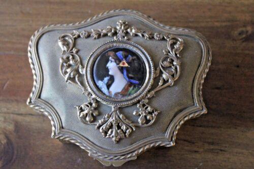 Antique Brass Lady Dresser Box Hand Painted Jewelry Filigree Enamel Vanity
