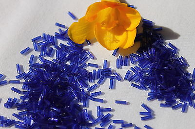 Miyuki Bugle Beads 2.0x6mm Twisted Dyed Trans Dark Cobalt 14 grams / TW206-1711