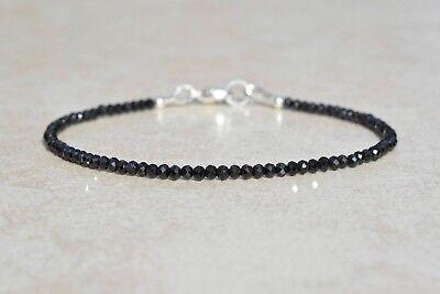(Ebay Sale Black Spinel Gemstone Faceted Beads Bracelet 7.5