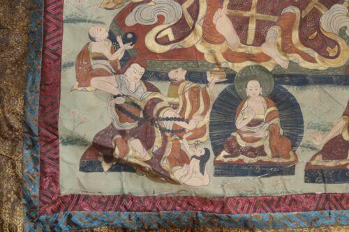 Antique Atisha Thangka, Tibet Important lineage holder for Dalai Lama Gelugpa