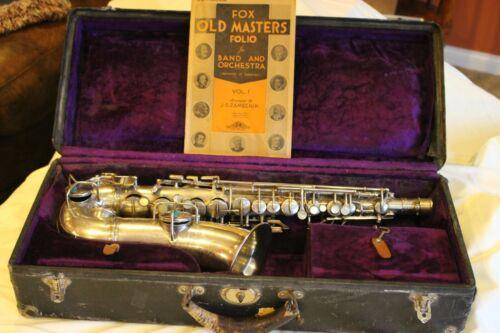 Antique CG Conn Silver saxophone, 1923, #84667, Original Hard Case, Nice Plating