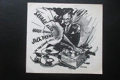 1956 THE SAVAGE CLUB  HOUSE DINNER CARD BILL BERRY CARTOON CARICATURE