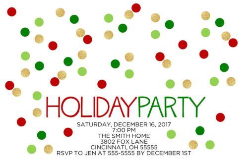Holiday Polka Dots Holiday Christmas Party Invitation