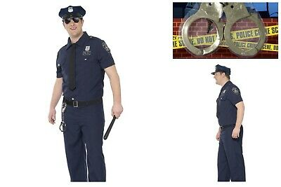 Mens *Plus Size* NYPD Cop Police Officer Fancy Dress Police Academy FREE - Nypd Cop Kostüm