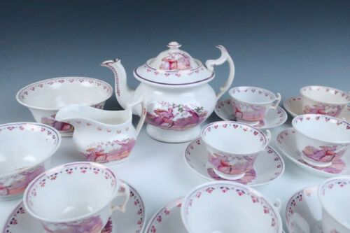 Early 1800s Staffordshire MOSES IN BULRUSHES Biblical Pink Lustre Tea Set Teapot